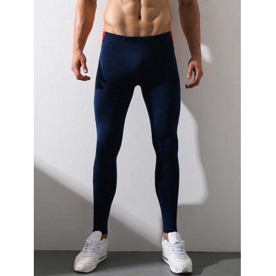 Buy DEEP BLUE L Color Block Panel Elastic Waist Stretchy Fleece Gym Pants for $15.12 in GearBest store