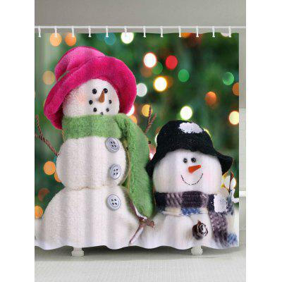 Christmas Two Snowman Waterproof Polyester Bath Curtain