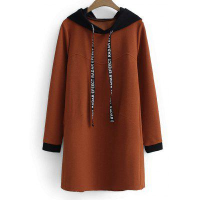 Buy FLAX BROWN XL Letter Two Tone Longline Drawstring Hoodie for $33.04 in GearBest store