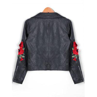 Floral Embroidered Applique Zipper PU Leather Biker JacketJackets &amp; Coats<br>Floral Embroidered Applique Zipper PU Leather Biker Jacket<br><br>Closure Type: Zipper<br>Clothes Type: Jackets<br>Collar: Turndown Collar<br>Embellishment: Appliques<br>Material: Faux Leather<br>Package Contents: 1 x Jacket<br>Pattern Type: Floral<br>Season: Fall, Winter<br>Shirt Length: Short<br>Sleeve Length: Full<br>Style: Fashion<br>Type: Slim<br>Weight: 0.8500kg<br>With Belt: No