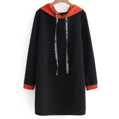 Buy BLACK XL Letter Two Tone Longline Drawstring Hoodie for $33.04 in GearBest store