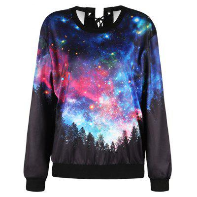 Lace Up Forest Starry Sky Print SweatshirtSweatshirts &amp; Hoodies<br>Lace Up Forest Starry Sky Print Sweatshirt<br><br>Material: Polyester<br>Package Contents: 1 x Sweatshirt<br>Pattern Style: Print<br>Season: Fall, Spring<br>Shirt Length: Regular<br>Sleeve Length: Full<br>Style: Casual<br>Weight: 0.4000kg