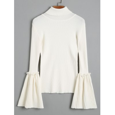 Turtleneck Flare Sleeve Knit SweaterSweaters &amp; Cardigans<br>Turtleneck Flare Sleeve Knit Sweater<br><br>Collar: Turtleneck<br>Material: Acrylic, Cotton, Polyester<br>Package Contents: 1 x Sweater<br>Pattern Type: Solid<br>Sleeve Length: Full<br>Style: Fashion<br>Type: Pullovers<br>Weight: 0.4500kg