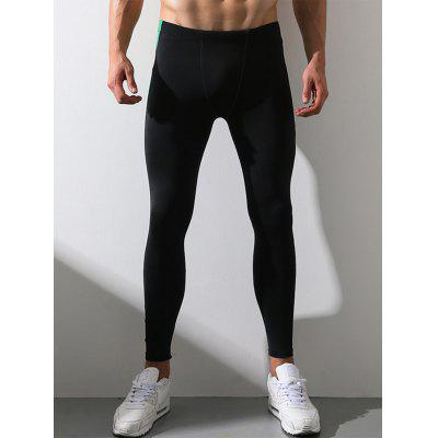 Buy BLACK 2XL Color Block Panel Elastic Waist Stretchy Fleece Gym Pants for $15.12 in GearBest store