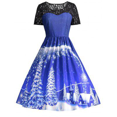 Buy BLUE 2XL Ugly Christmas Party Lace Panel Vintage Dress for $22.75 in GearBest store