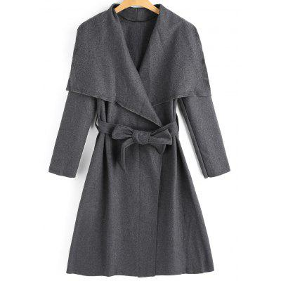 Belted Wool Blend Skirted Coat