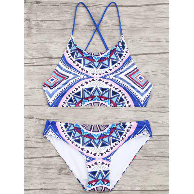 Geometric Pattern Cross Back BikiniLingerie &amp; Shapewear<br>Geometric Pattern Cross Back Bikini<br><br>Bra Style: Padded<br>Elasticity: Elastic<br>Gender: For Women<br>Material: Chinlon<br>Neckline: Spaghetti Straps<br>Package Contents: 1 x Top  1 x Briefs<br>Pattern Type: Geometric<br>Support Type: Wire Free<br>Swimwear Type: Bikini<br>Waist: Natural<br>Weight: 0.2400kg