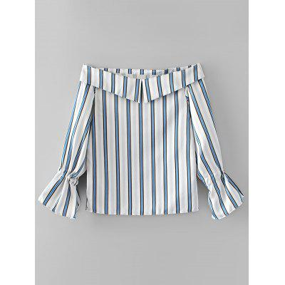 Off Shoulder Stripes Bow Tied Sleeve Blouse