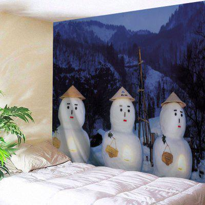 Christmas Three Snowman Print Wall Hanging Tapestry- W79 INCH * L59 INCH BLUE