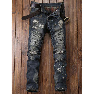 Zipper Fly Panel Geometric Suture Paint Splatter Ripped JeansMens Pants<br>Zipper Fly Panel Geometric Suture Paint Splatter Ripped Jeans<br><br>Closure Type: Zipper Fly<br>Fit Type: Regular<br>Material: Cotton, Polyester, Jean<br>Package Contents: 1 x Jeans<br>Pant Length: Long Pants<br>Pant Style: Straight<br>Wash: Bleach<br>Weight: 0.7600kg<br>With Belt: No