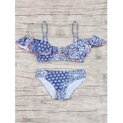 Ruffles Printed Cami Bikini SetLingerie &amp; Shapewear<br>Ruffles Printed Cami Bikini Set<br><br>Bra Style: Padded<br>Elasticity: Elastic<br>Gender: For Women<br>Material: Chinlon<br>Neckline: Spaghetti Straps<br>Package Contents: 1 x Top  1 x Briefs<br>Pattern Type: Print<br>Support Type: Wire Free<br>Swimwear Type: Bikini<br>Waist: Natural<br>Weight: 0.2300kg
