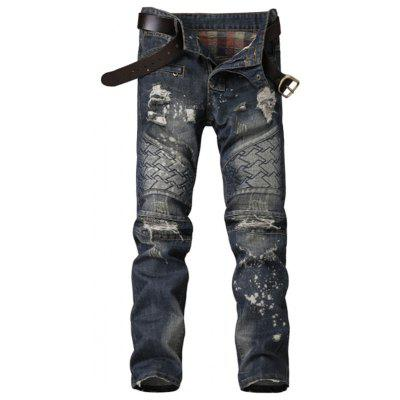 Zipper Fly Panel Geometric Suture Paint Splatter Ripped Jeans