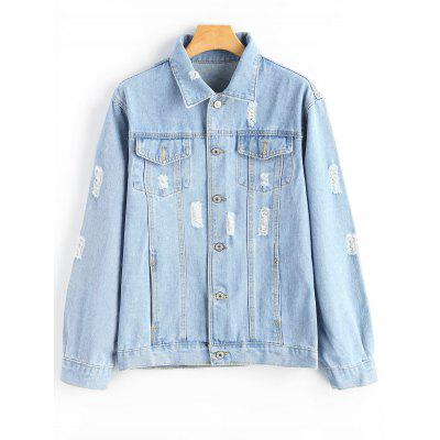 Ripped Pocket Button Up Denim Jacket
