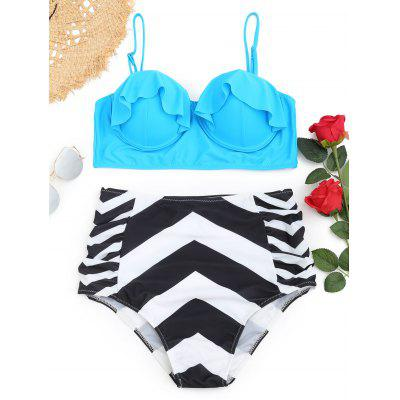 Buy LAKE BLUE 3XL Underwire Frilled Zigzag Plus Size Bikini Set for $19.28 in GearBest store