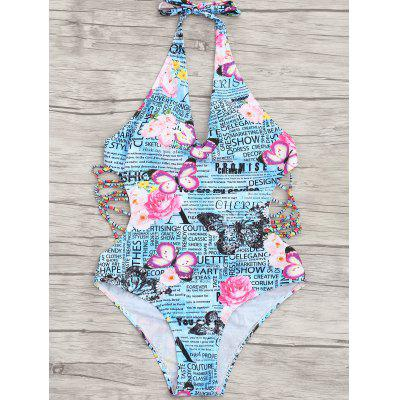 Back Tied Graphic One Piece SwimwearLingerie &amp; Shapewear<br>Back Tied Graphic One Piece Swimwear<br><br>Bra Style: Padded<br>Elasticity: Elastic<br>Gender: For Women<br>Material: Chinlon<br>Neckline: Halter<br>Package Contents: 1 x Swimwear<br>Pattern Type: Print<br>Support Type: Wire Free<br>Swimwear Type: One Piece<br>Waist: Natural<br>Weight: 0.2350kg