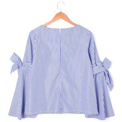 Self Tie Striped Flare Sleeve BlouseBlouses<br>Self Tie Striped Flare Sleeve Blouse<br><br>Collar: Round Neck<br>Embellishment: Bowknot<br>Material: Polyester<br>Occasion: Casual, Party<br>Package Contents: 1 x Blouse<br>Pattern Type: Striped<br>Seasons: Autumn,Spring<br>Shirt Length: Regular<br>Sleeve Length: Full<br>Style: Fashion<br>Weight: 0.2300kg