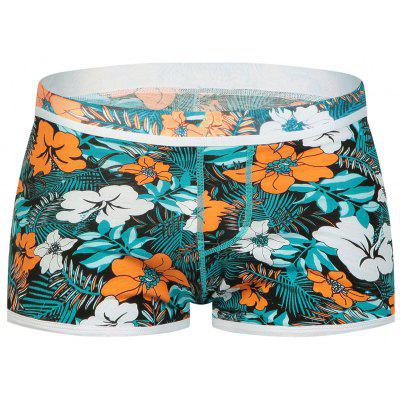 Buy COLORMIX L Elastic Waist U Convex Pouch Florals Print Boxer Brief for $10.96 in GearBest store