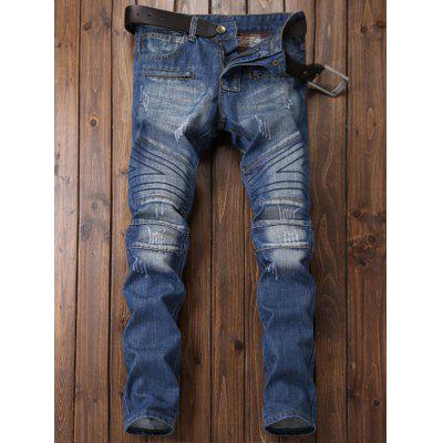 Zipper Fly Panel Geometric Suture Bleached Ripped JeansMens Pants<br>Zipper Fly Panel Geometric Suture Bleached Ripped Jeans<br><br>Closure Type: Zipper Fly<br>Fit Type: Regular<br>Material: Cotton, Polyester, Jean<br>Package Contents: 1 x Jeans<br>Pant Length: Long Pants<br>Pant Style: Straight<br>Wash: Bleach<br>Weight: 0.7800kg<br>With Belt: No