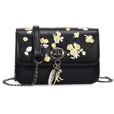 Buy BLACK Flower Print Chain Crossbody Bag for $22.12 in GearBest store