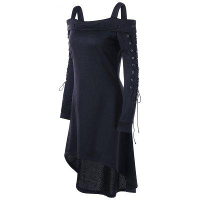 Cold Shoulder Lace Up Dip Hem DressWomens Dresses<br>Cold Shoulder Lace Up Dip Hem Dress<br><br>Dresses Length: Mini<br>Material: Polyester<br>Neckline: Square Collar<br>Occasion: Pageant Dresses, Night Out, Club, Casual<br>Package Contents: 1 x Dress<br>Pattern Type: Solid Color<br>Season: Spring, Fall<br>Silhouette: High-Low<br>Sleeve Length: Long Sleeves<br>Style: Novelty<br>Weight: 0.5200kg<br>With Belt: No