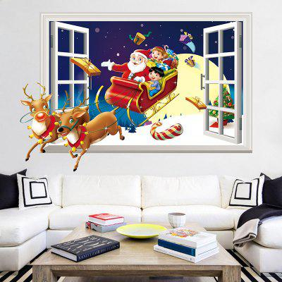 3D Christmas Sled Santa Claus Pattern Window Wall Sticker