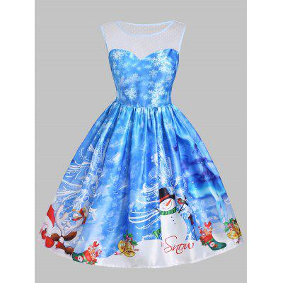 Buy BLUE M Christmas Snowman Snowflake Mesh Panel Dress for $26.52 in GearBest store