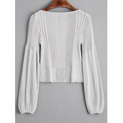 Ribbed Ruffles Pullover Knit SweaterSweaters &amp; Cardigans<br>Ribbed Ruffles Pullover Knit Sweater<br><br>Collar: Round Collar<br>Material: Acrylic, Cotton, Polyester, Spandex<br>Package Contents: 1 x Sweater<br>Pattern Type: Solid<br>Sleeve Length: Full<br>Style: Fashion<br>Type: Pullovers<br>Weight: 0.3200kg