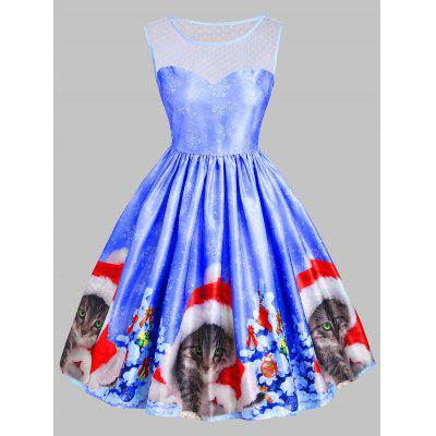 Buy BLUE L Christmas Cat Snowflake Mesh Panel Dress for $26.52 in GearBest store