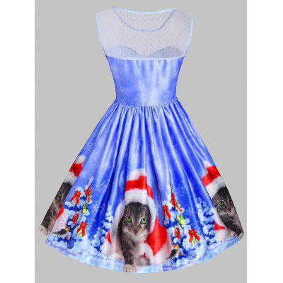 Christmas Cat Snowflake Mesh Panel DressWomens Dresses<br>Christmas Cat Snowflake Mesh Panel Dress<br><br>Dresses Length: Knee-Length<br>Embellishment: Mesh<br>Material: Cotton, Polyester<br>Neckline: Round Collar<br>Package Contents: 1 x Dress<br>Pattern Type: Animal<br>Season: Fall, Spring, Summer<br>Silhouette: A-Line<br>Sleeve Length: Sleeveless<br>Style: Vintage<br>Weight: 0.3500kg<br>With Belt: No
