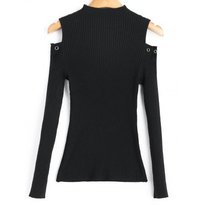 Studded Mock Neck Cold Shoulder SweaterSweaters &amp; Cardigans<br>Studded Mock Neck Cold Shoulder Sweater<br><br>Collar: Mock Neck<br>Material: Cotton, Polyester<br>Package Contents: 1 x Sweater<br>Pattern Type: Solid<br>Sleeve Length: Full<br>Style: Fashion<br>Type: Pullovers<br>Weight: 0.2700kg