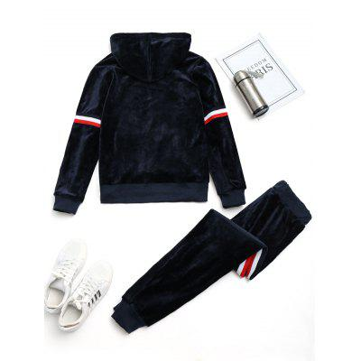 Striped Velvet Hoodie with Pants Gym SuitSweatshirts &amp; Hoodies<br>Striped Velvet Hoodie with Pants Gym Suit<br><br>Fabric Type: Velour<br>Material: Polyester<br>Package Contents: 1 x Hoodie  1 x Pants<br>Pattern Style: Striped<br>Shirt Length: Regular<br>Sleeve Length: Full<br>Weight: 0.9200kg