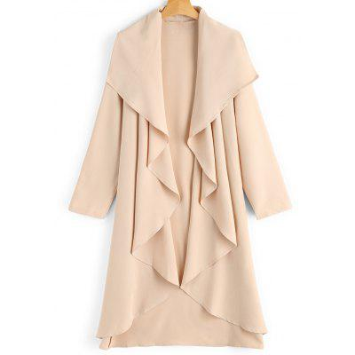 Open Front Ruffled Placket Trench Coat
