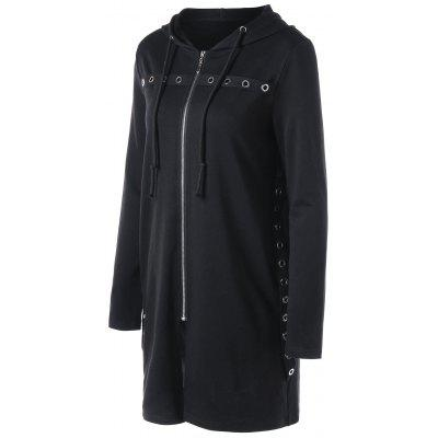 Eyelet Embellished Longline HoodieSweatshirts &amp; Hoodies<br>Eyelet Embellished Longline Hoodie<br><br>Material: Polyester, Spandex<br>Package Contents: 1 x Hoodie<br>Pattern Style: Solid<br>Season: Fall, Spring<br>Shirt Length: Long<br>Sleeve Length: Full<br>Style: Fashion<br>Weight: 0.5000kg