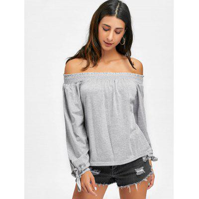 Off The Shoulder Bow Tie T-shirtBlouses<br>Off The Shoulder Bow Tie T-shirt<br><br>Collar: Off The Shoulder<br>Material: Cotton Blends, Polyester<br>Package Contents: 1 x T-shirt<br>Pattern Type: Solid<br>Season: Fall, Spring<br>Shirt Length: Regular<br>Sleeve Length: Full<br>Style: Fashion<br>Weight: 0.2600kg