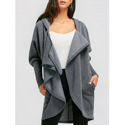 Open Front Convertible Long Drape Hoodie