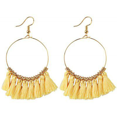 Vintage Tassel Hoop Drop Earrings