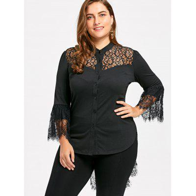 Plus Size Lace Trim Dip Hem BlousePlus Size Tops<br>Plus Size Lace Trim Dip Hem Blouse<br><br>Collar: Stand-Up Collar<br>Embellishment: Lace<br>Material: Rayon, Spandex<br>Package Contents: 1 x Blouse<br>Pattern Type: Others<br>Season: Spring, Fall<br>Shirt Length: Long<br>Sleeve Length: Full<br>Style: Fashion<br>Weight: 0.3100kg