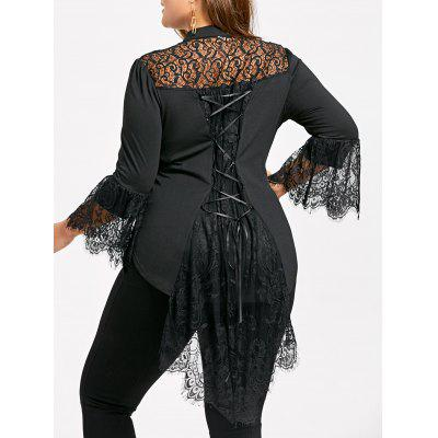Plus Size Lace Trim Dip Hem Blouse
