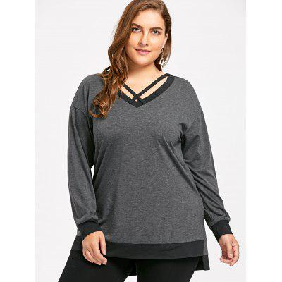 Plus Size V Neck Cross Strap SweatshirtPlus Size Tops<br>Plus Size V Neck Cross Strap Sweatshirt<br><br>Material: Polyester, Spandex<br>Package Contents: 1 x Sweatshirt<br>Pattern Style: Solid<br>Season: Fall, Spring<br>Shirt Length: Long<br>Sleeve Length: Full<br>Style: Casual<br>Weight: 0.3400kg