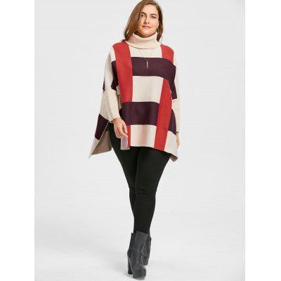 Striped Plus Size Turtleneck Cape SweaterPlus Size<br>Striped Plus Size Turtleneck Cape Sweater<br><br>Collar: Turtleneck<br>Material: Polyester, Spandex<br>Package Contents: 1 x Sweater<br>Pattern Type: Striped<br>Season: Fall, Winter<br>Sleeve Length: Full<br>Style: Fashion<br>Type: Pullovers<br>Weight: 0.6650kg