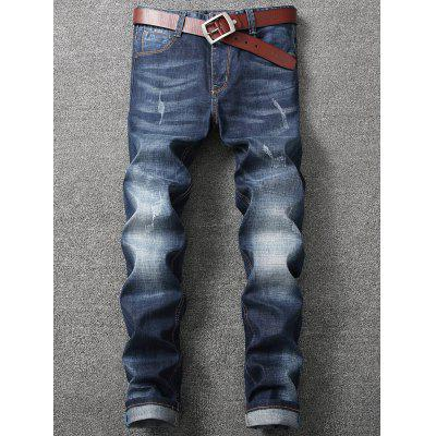 Zip Fly Straight Leg Faded Whisker Jeans портмоне trussardi jeans trussardi jeans tr016bmoos67
