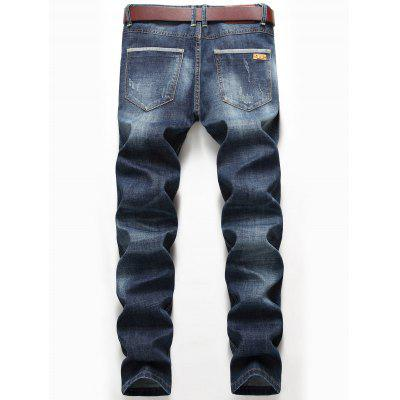 Straight Leg Whisker Distressed JeansMens Pants<br>Straight Leg Whisker Distressed Jeans<br><br>Closure Type: Zipper Fly<br>Fit Type: Regular<br>Material: Cotton, Polyester, Spandex<br>Package Contents: 1 x Jeans<br>Pant Length: Long Pants<br>Pant Style: Straight<br>Waist Type: Mid<br>Wash: Destroy Wash<br>Weight: 0.6500kg<br>With Belt: No