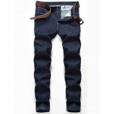 Buy DEEP BLUE 32 Embroidery Detail Straight Leg Jeans for $33.33 in GearBest store