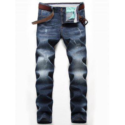 Zip Fly Straight Leg Faded Whisker Jeans