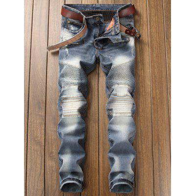 Slim Fit Zip Fly Distressed Biker JeansMens Pants<br>Slim Fit Zip Fly Distressed Biker Jeans<br><br>Closure Type: Zipper Fly<br>Fit Type: Regular<br>Material: Cotton, Spandex<br>Package Contents: 1 x Jeans<br>Pant Length: Long Pants<br>Waist Type: Mid<br>Wash: Medium<br>Weight: 0.8600kg<br>With Belt: No