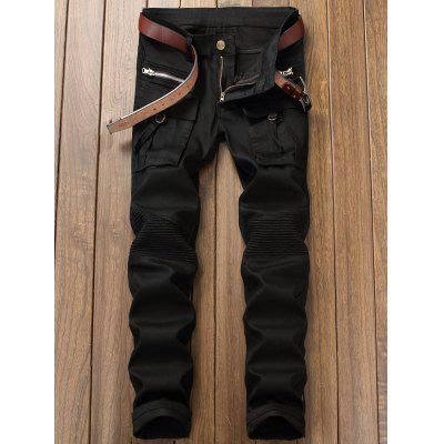 Flap Pocket Zip Embellished Biker JeansMens Pants<br>Flap Pocket Zip Embellished Biker Jeans<br><br>Closure Type: Zipper Fly<br>Fit Type: Regular<br>Material: Cotton, Spandex, Polyester<br>Package Contents: 1 x Jeans<br>Pant Length: Long Pants<br>Waist Type: Mid<br>Wash: Dark<br>Weight: 0.6600kg<br>With Belt: No