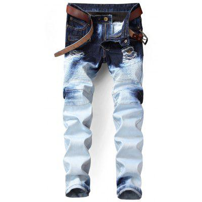 Buy WHITE 34 Tie Dyed Distressed Biker Jeans for $46.33 in GearBest store