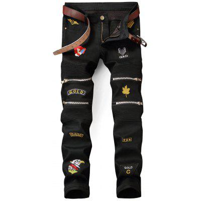 Zip Embellished Patched Biker Jeans