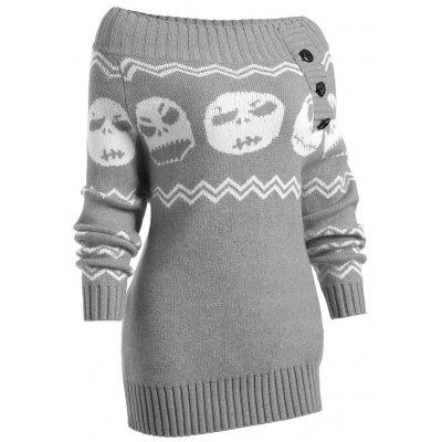 Halloween Ghost Off The Shoulder Tunic SweaterSweaters &amp; Cardigans<br>Halloween Ghost Off The Shoulder Tunic Sweater<br><br>Collar: Off The Shoulder<br>Elasticity: Elastic<br>Material: Acrylic<br>Package Contents: 1 x Sweater<br>Pattern Type: Others<br>Season: Winter, Spring, Fall<br>Sleeve Length: Full<br>Style: Fashion<br>Type: Pullovers<br>Weight: 0.4900kg