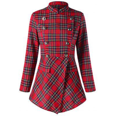 Buy CHECKED L Christmas Plaid Double Breasted Coat for $26.01 in GearBest store